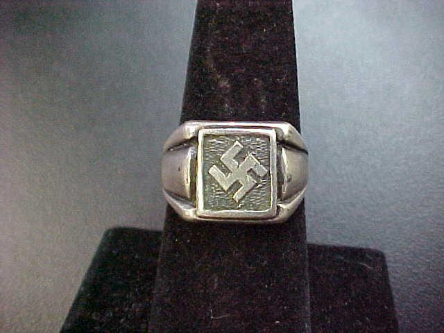 NSDAP SWASTIKA RING SILVER NAZI PARTY MEMBER