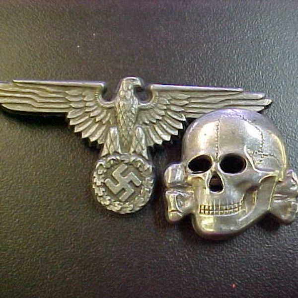 42800bd6630 WAFFEN SS VISOR HAT SKULL AND EAGLE INSIGNIA SET – Reich Relics ...