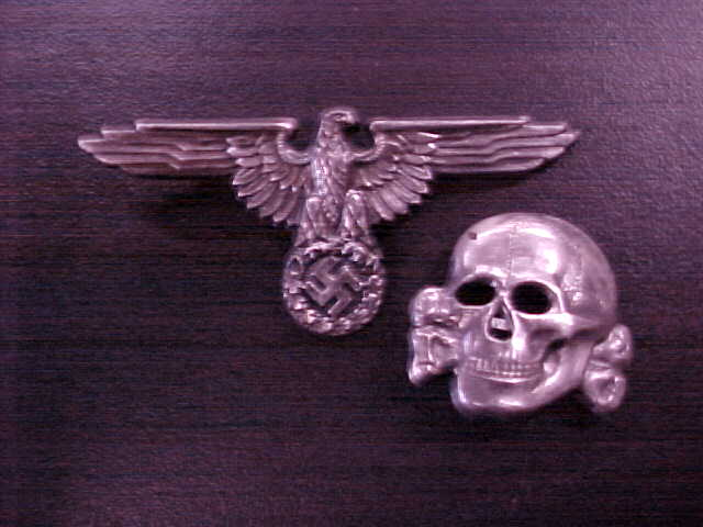WAFFEN SS ALLGEMEINE SS SILVER VISOR HAT INSIGNIA SET SKULL AND EAGLE